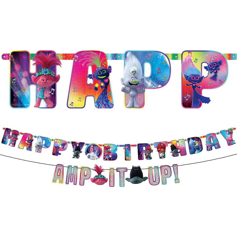 Trolls World Tour Personalized Birthday Banner Kit 2ct Image #1