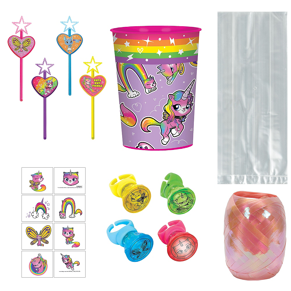 Rainbow Butterfly Unicorn Kitty Super Party Favor Kit for 8 Guests Image #1