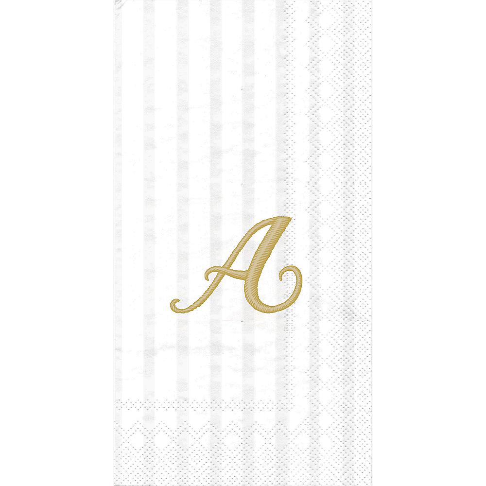 Gold Monogram A Striped Premium Guest Towels 96ct Image #1