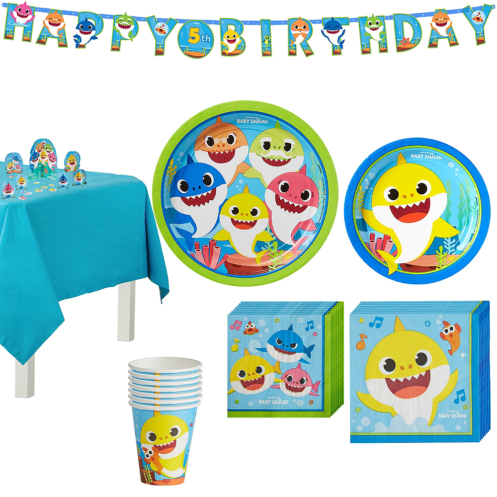 Baby Shark Birthday Party Tableware Kit for 8 Guests Image #1