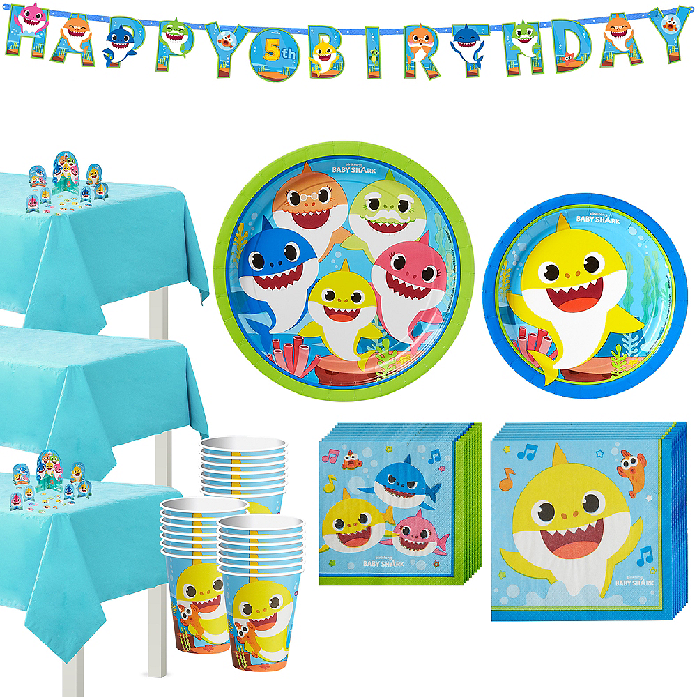 Baby Shark Birthday Party Tableware Kit for 24 Guests Image #1