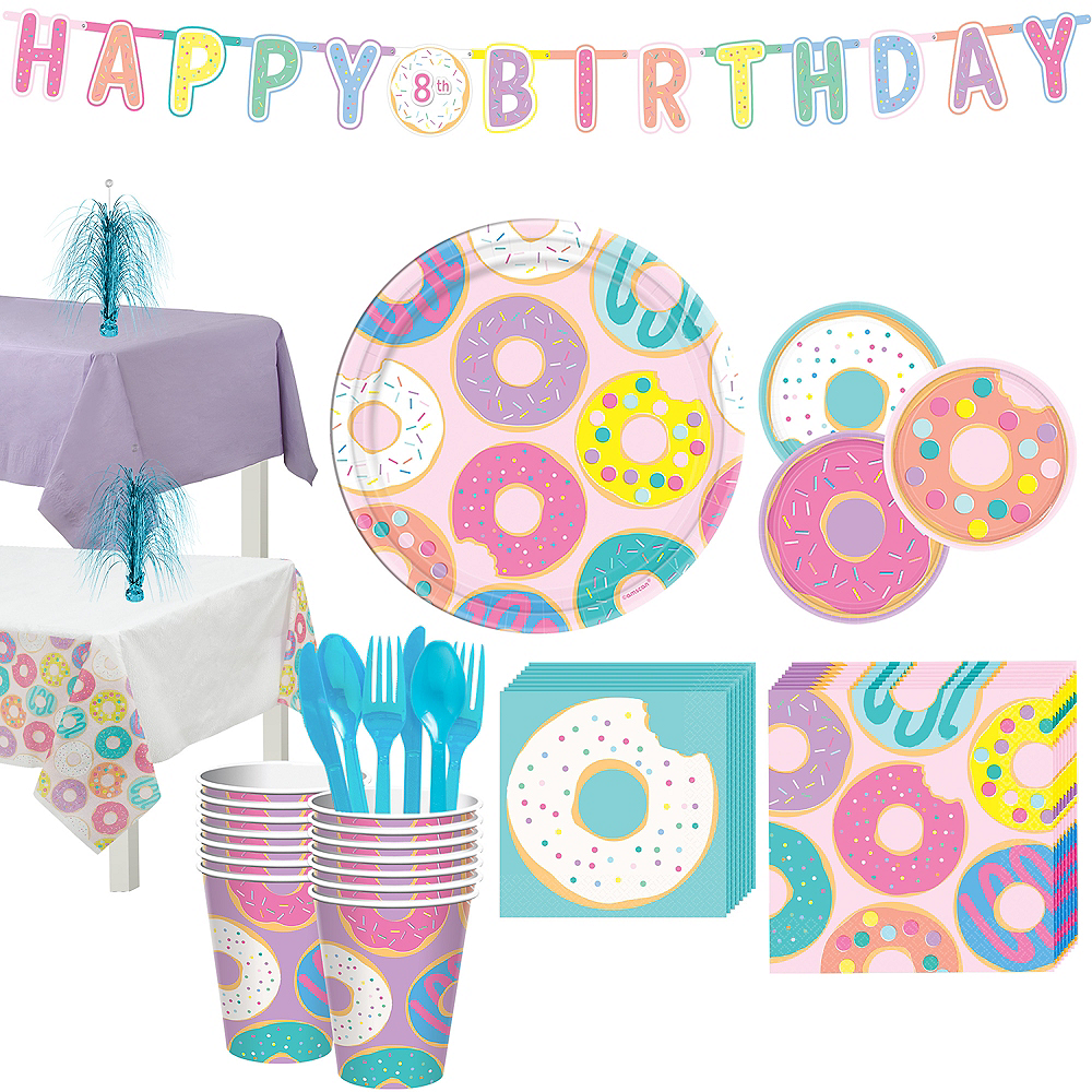 Donut Party Tableware Kit for 16 Guests Image #1