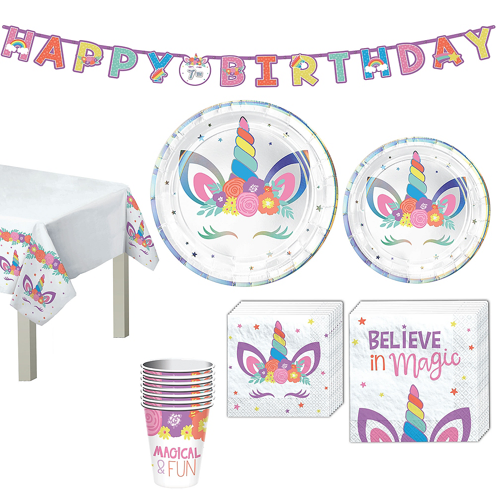 Unicorn Party Tableware Kit for 8 Guests Image #1