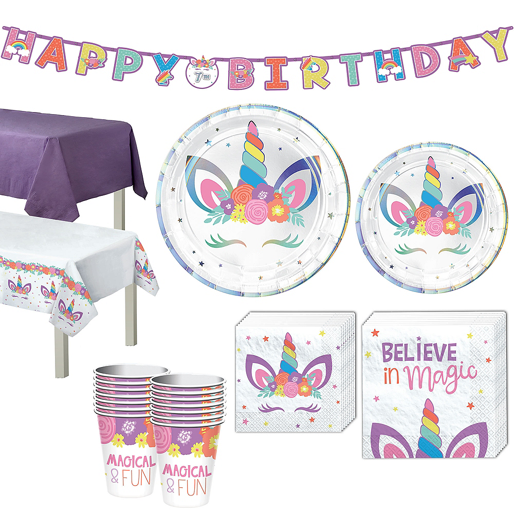 Unicorn Party Tableware Kit for 16 Guests Image #1