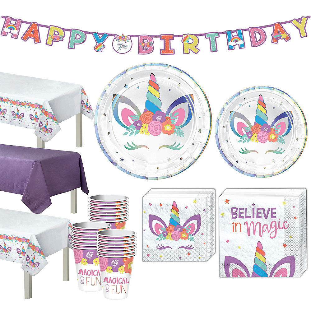 Unicorn Party Tableware Kit for 24 Guests Image #1