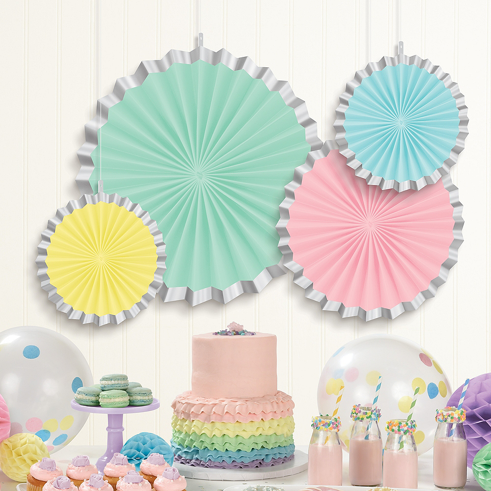 Nav Item for Pretty Pastels Paper Fan Decorations 4ct Image #2