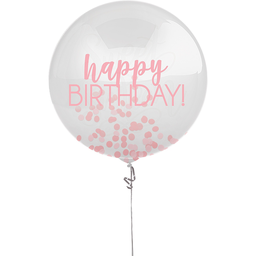 Pink Happy Birthday Confetti Balloon, 24in Image #1