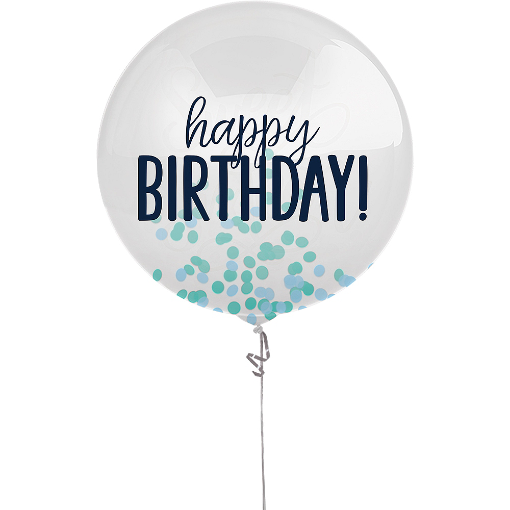 Blue Happy Birthday Confetti Balloon, 24in Image #1