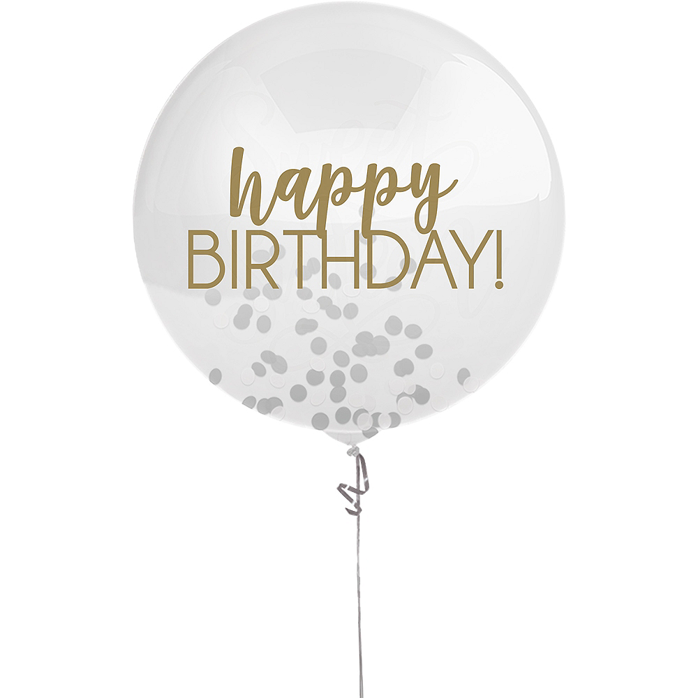 Gold & Silver Happy Birthday Confetti Balloon Image #1