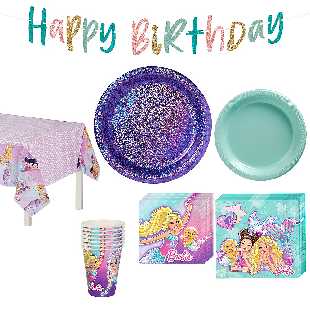 Iridescent Barbie Mermaid Birthday Party Tableware Kit for 8 Guests Image #1