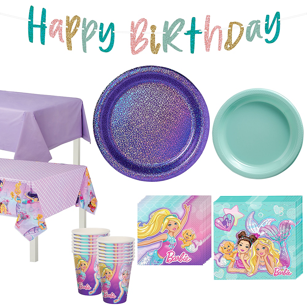 Iridescent Barbie Mermaid Birthday Party Tableware Kit for 16 Guests Image #1