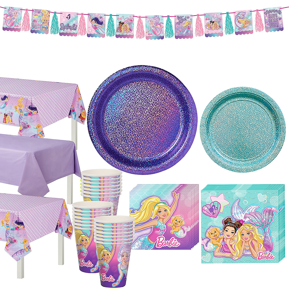 Iridescent Barbie Mermaid Birthday Party Tableware Kit for 24 Guests Image #1