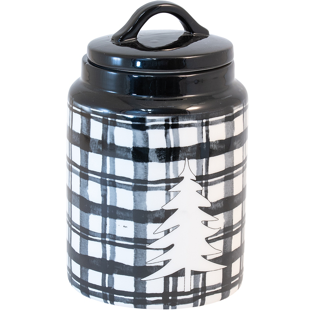 Black Plaid White Tree Canister Image #1