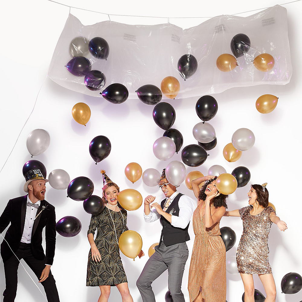Air-Filled Black & Gold Balloon Drop Kit Image #3