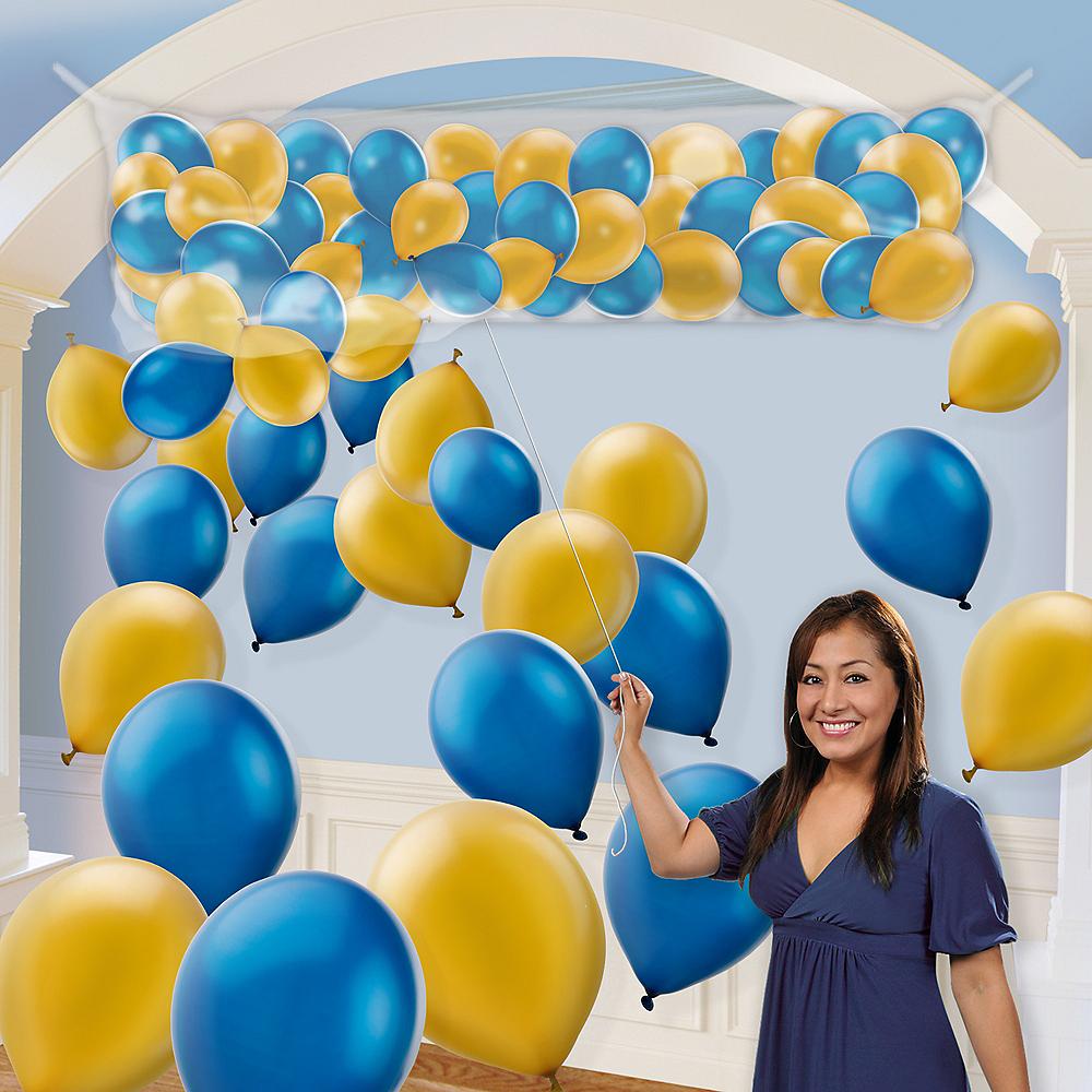 Air-Filled Gold & Royal Blue Balloon Drop Kit Image #1