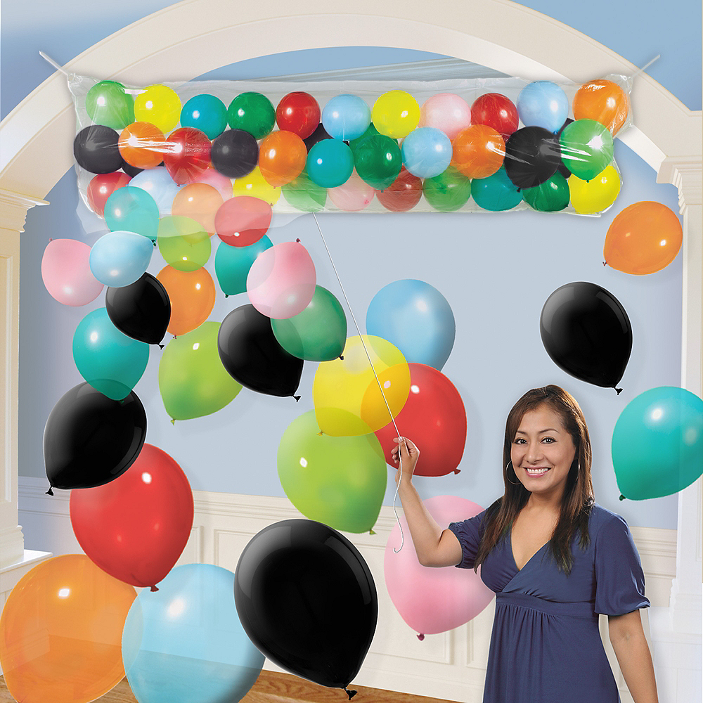 Air-Filled Multicolor Balloon Drop Kit Image #1