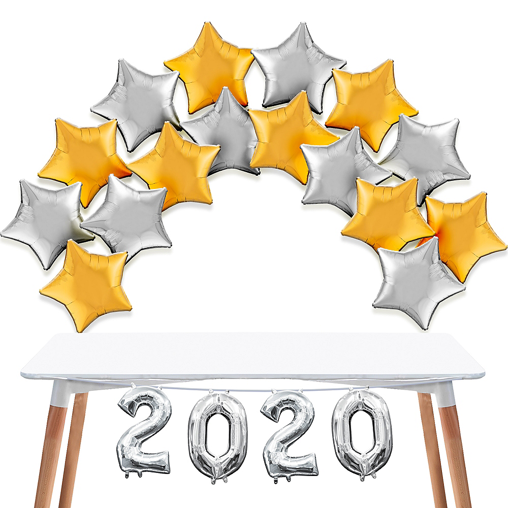 Air-Filled Gold & Silver 2020 Star Balloon Kit Image #1
