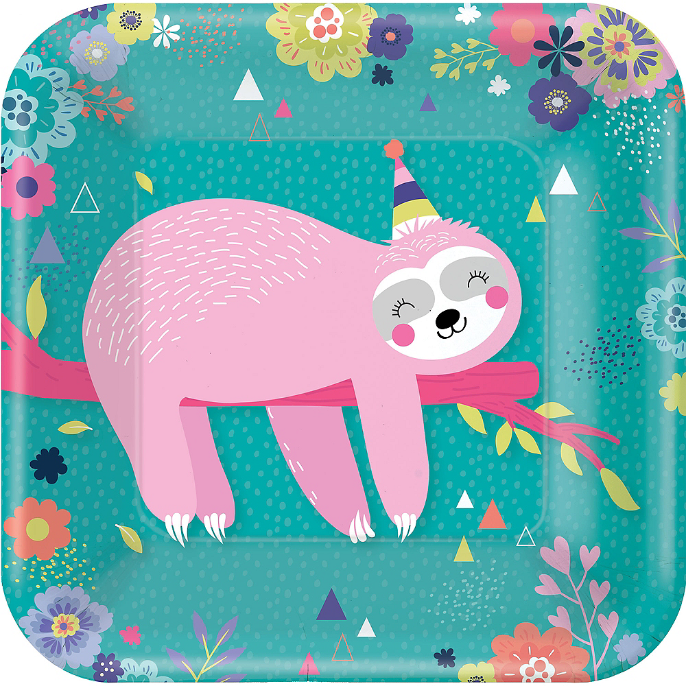 Sloth Party Lunch Plates 8ct Image #1