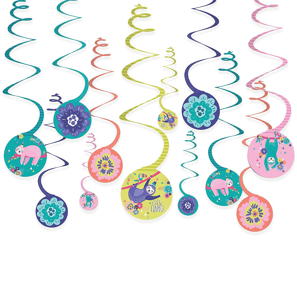 Sloth Party Swirl Decorations 12ct Image #1