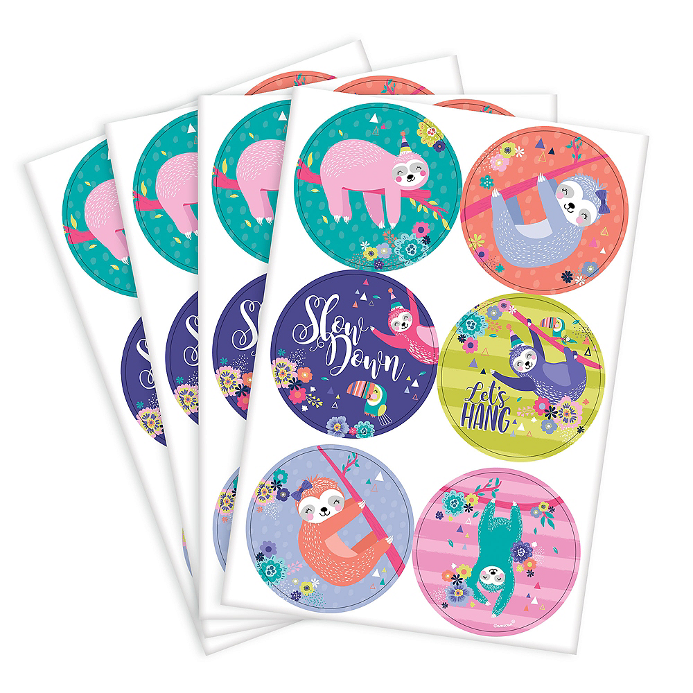 Sloth Party Stickers 4 Sheets Image #1