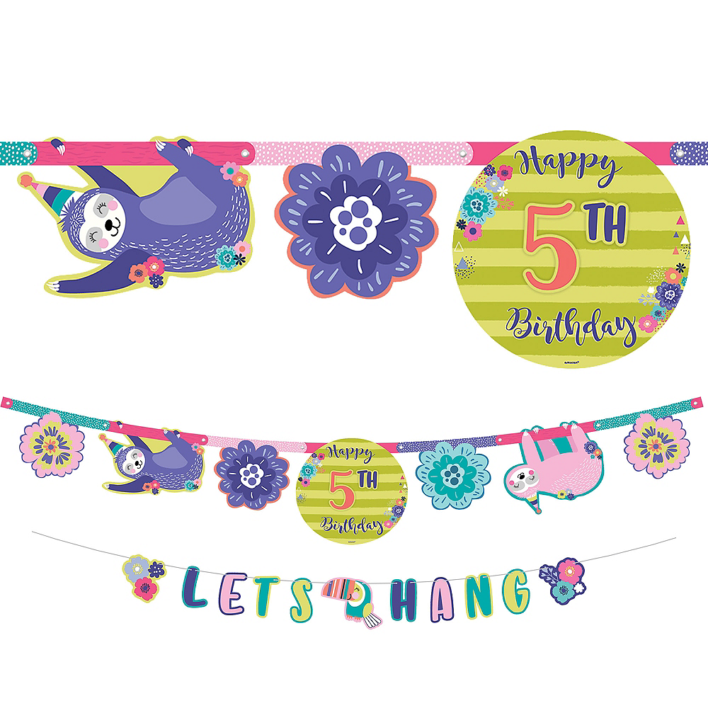 Sloth Party Birthday Banner Kit Image #1
