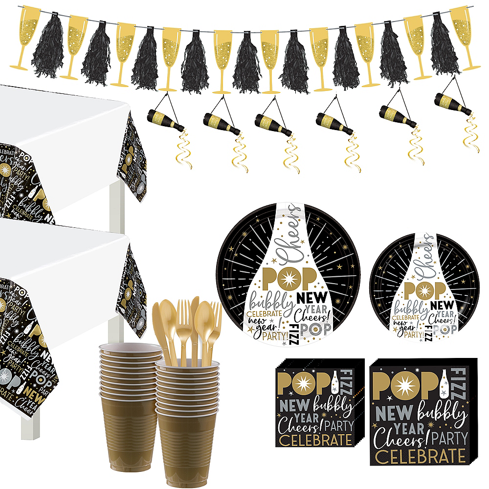 Black, Gold & Silver New Year's Eve Tableware Kit for 100 Guests Image #1
