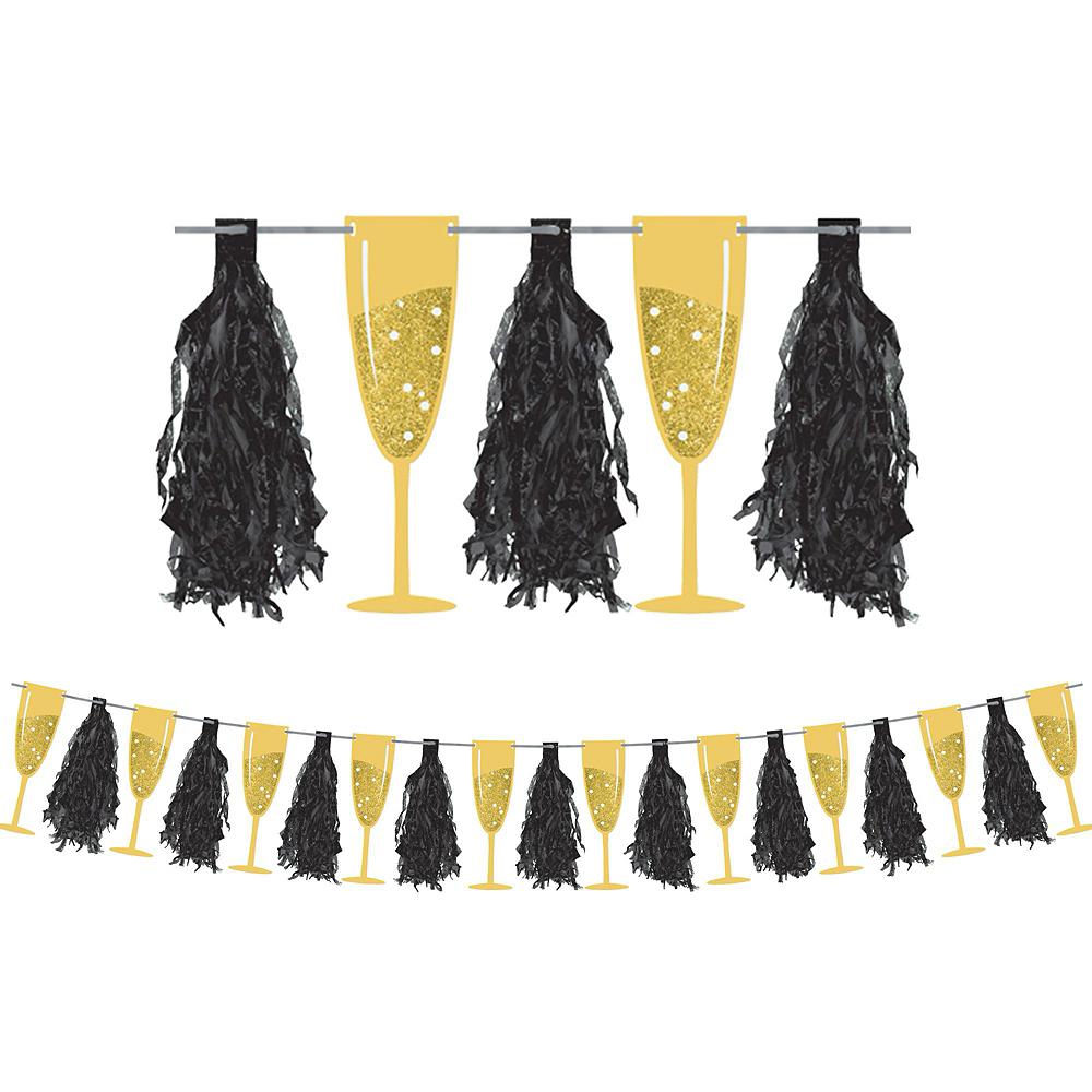Black, Gold & Silver New Year's Eve Tableware Kit for 100 Guests Image #10