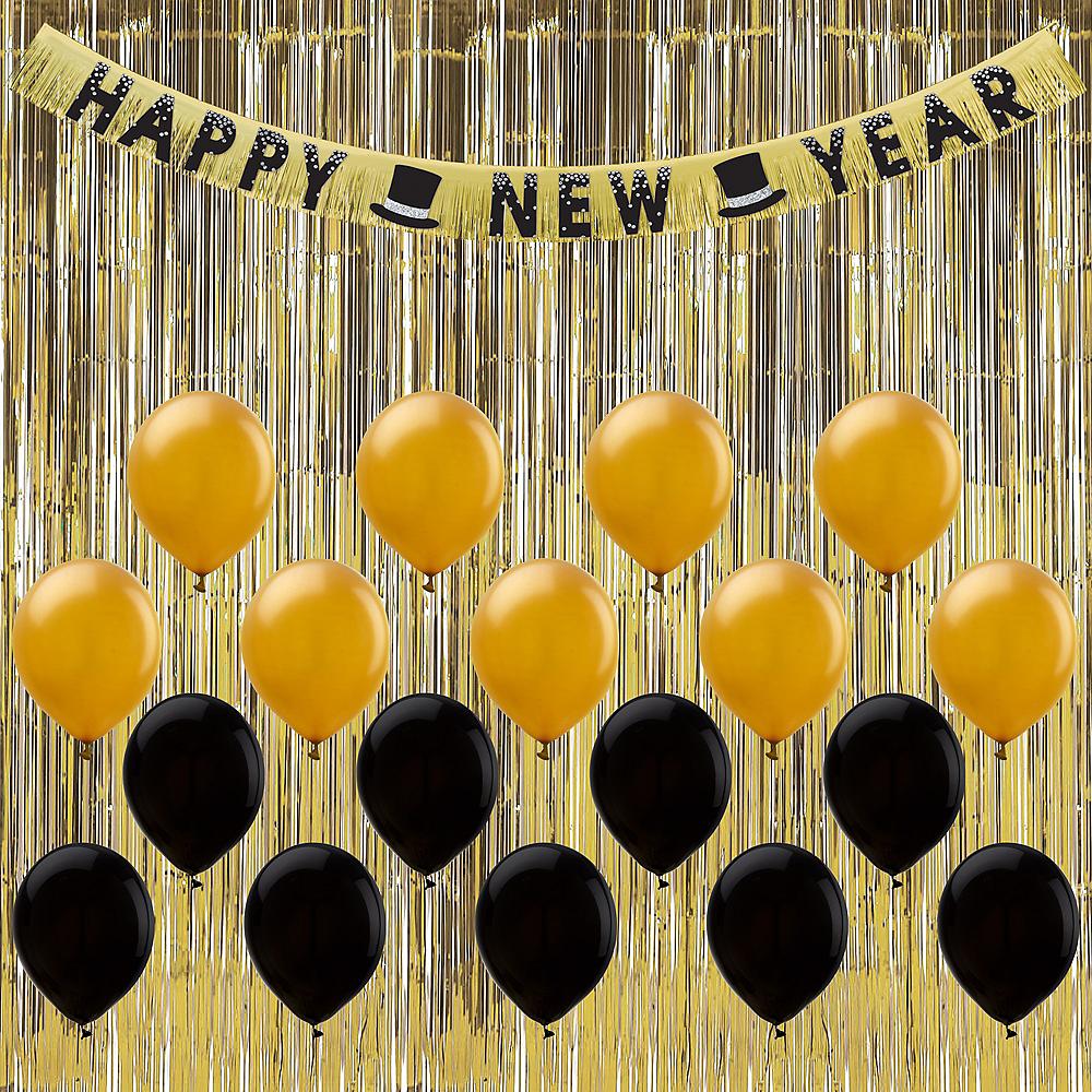 Black & Gold New Year's Eve Balloon Backdrop Kit Image #1