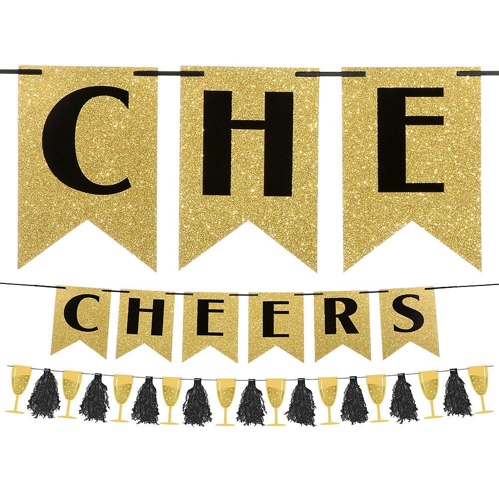 Black & Gold Cheers to a New Year Banner Kit Image #1