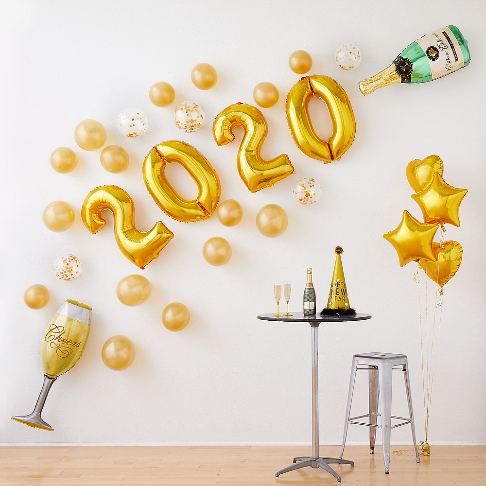 Air-Filled Gold Champagne New Year's Eve Balloon Kit Image #1