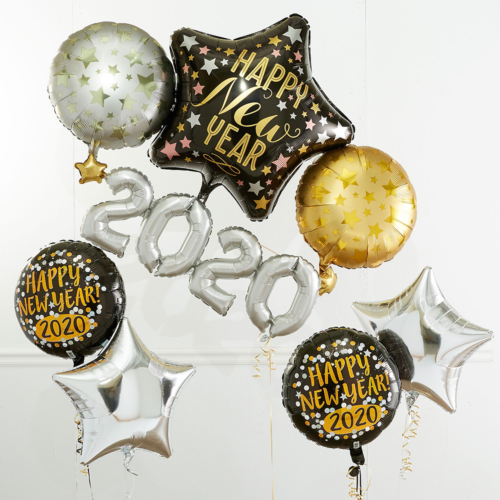 Black, Gold & Silver Star New Year's Eve Balloon Kit Image #1