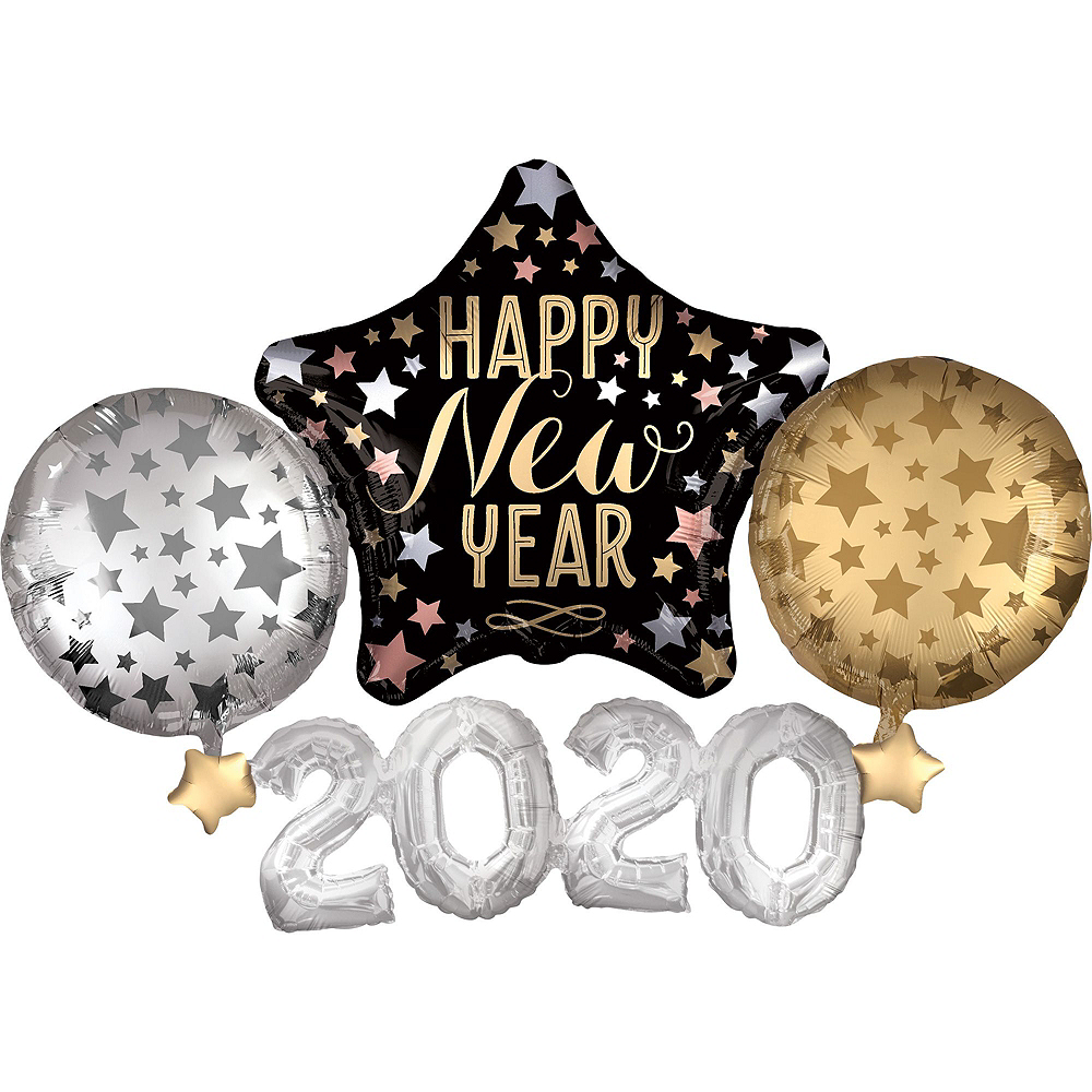 Black, Gold & Silver Star New Year's Eve Balloon Kit Image #4