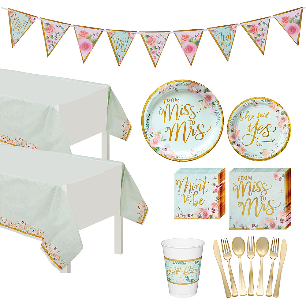 Mint to Be Bridal Shower Tableware Kit for 50 Guests Image #1