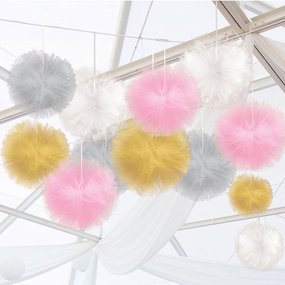 Gold, Pink & Silver Tulle Pom-Pom Decorating Kit Image #1
