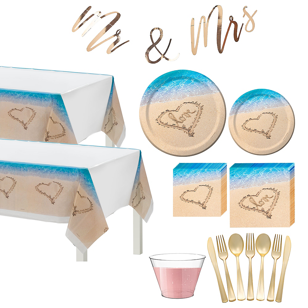 Beach Love Wedding Tableware Kit for 50 Guests Image #1