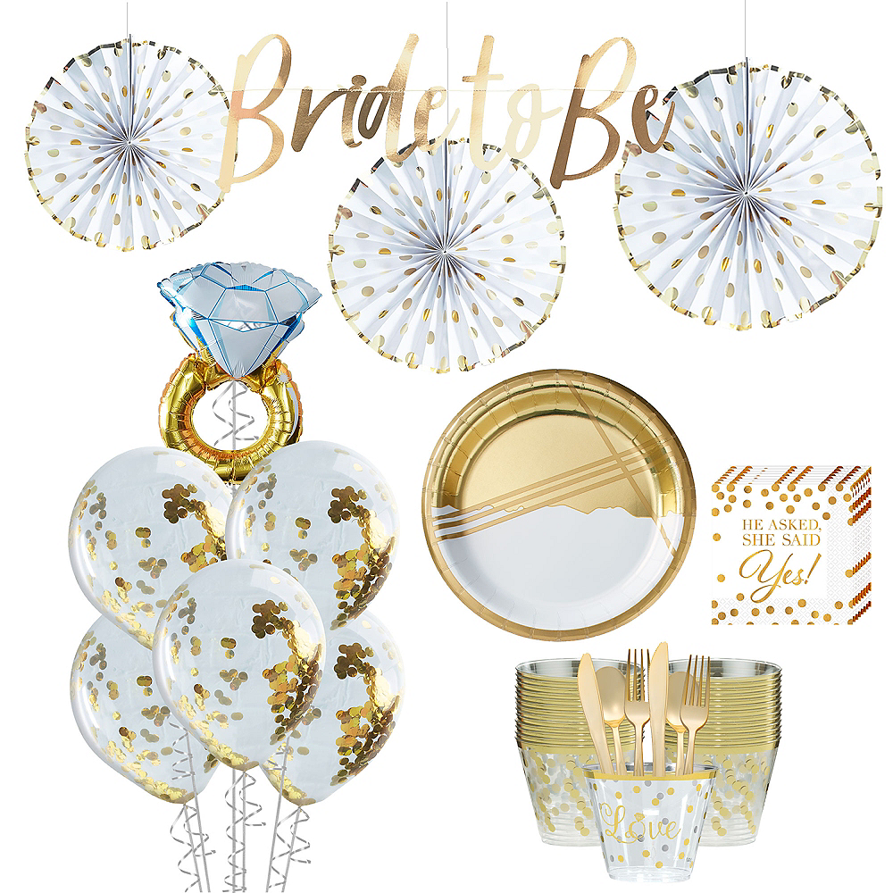 Metallic Gold Bridal Shower Tableware Kit for 50 guests Image #1