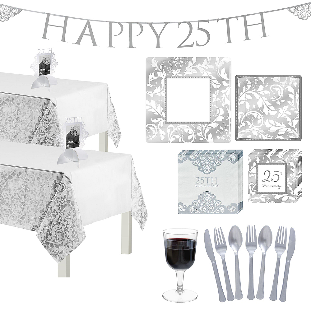 Silver 25th Anniversary Tableware Kit for 50 Guests Image #1