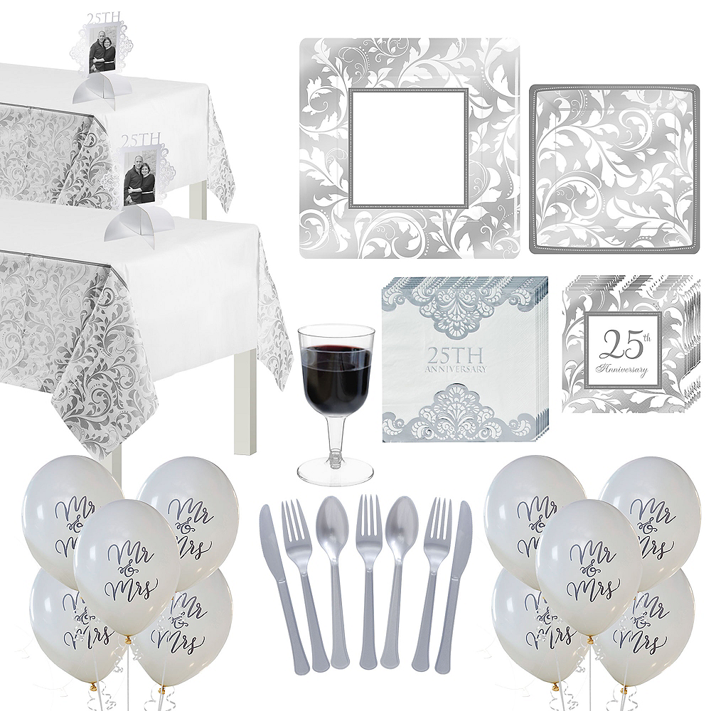 Metallic Silver Wedding Tableware Kit for 50 Guests Image #1