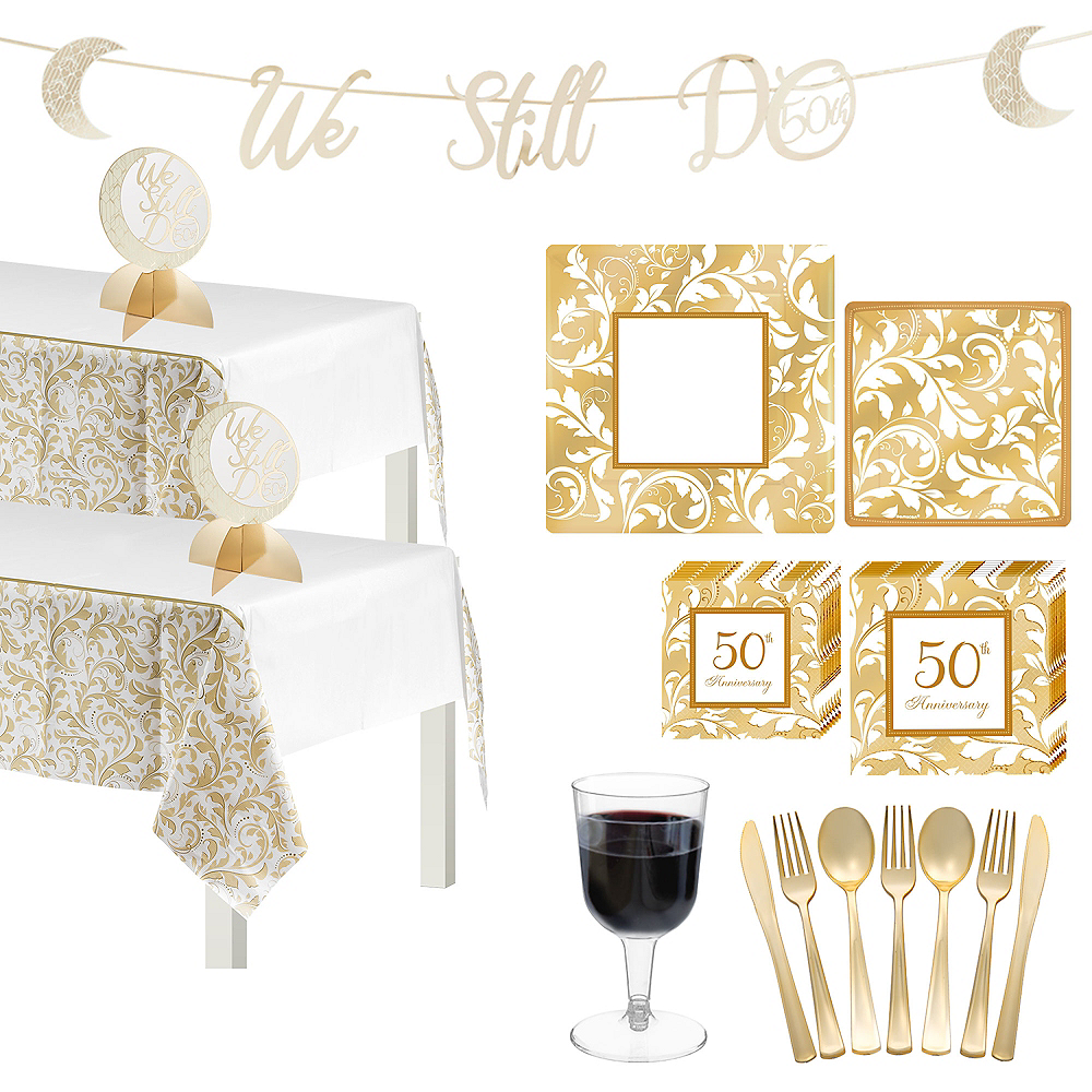 Gold 50th Anniversary Tableware Kit for 50 Guests Image #1