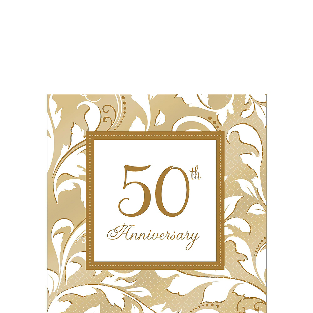 Gold 50th Anniversary Tableware Kit for 50 Guests Image #4