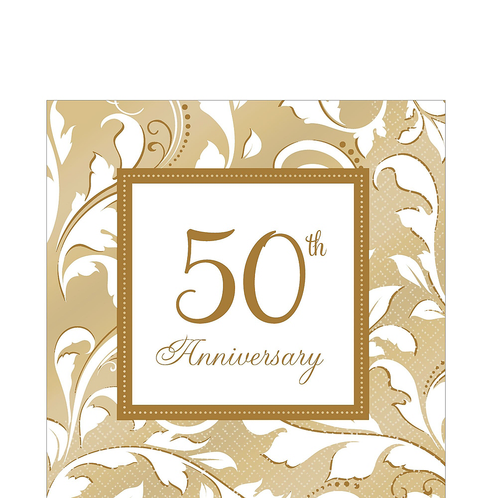 Gold 50th Anniversary Tableware Kit for 50 Guests Image #5