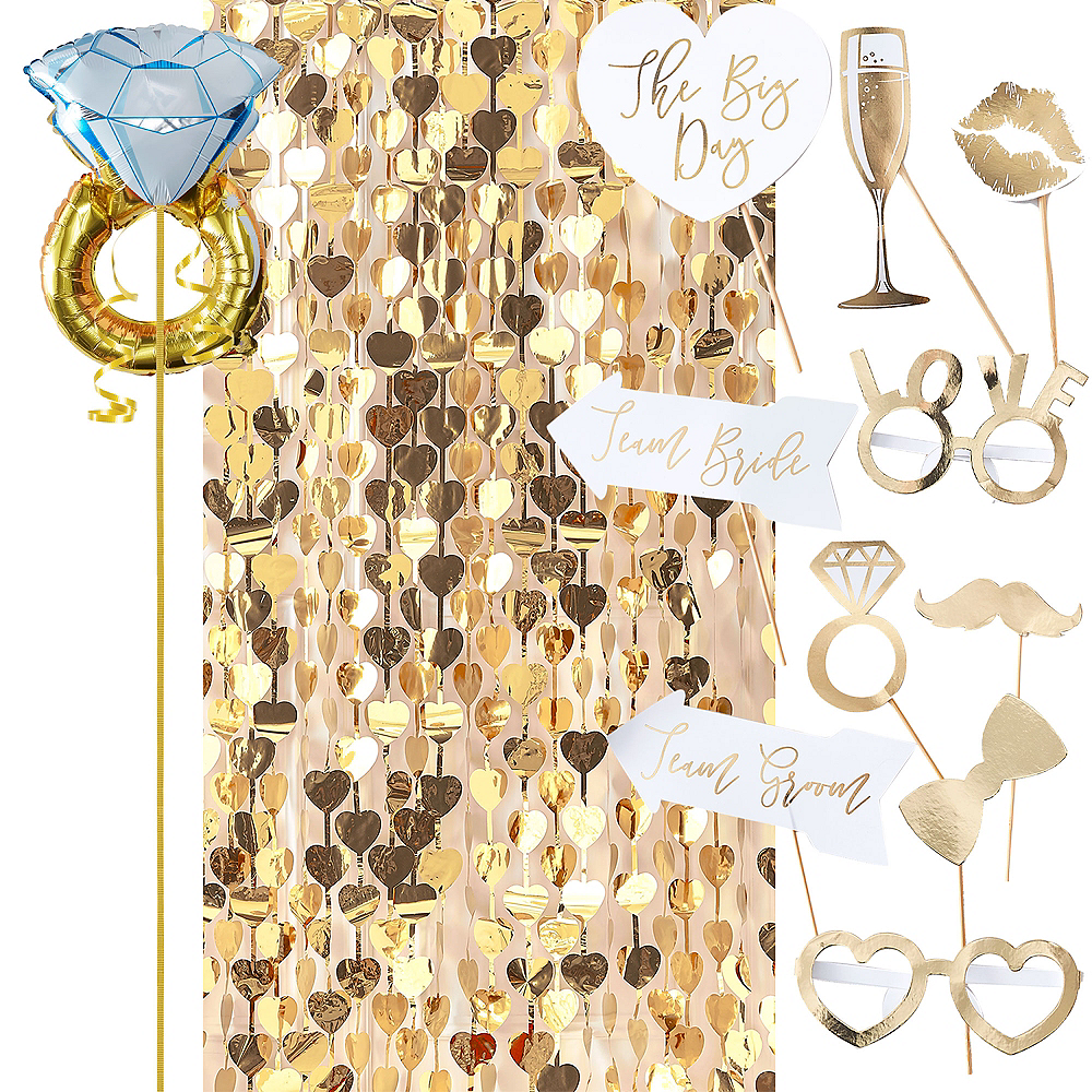 Metallic Gold Bridal Shower Photo Booth Kit Image #1