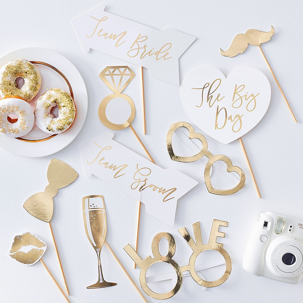 Metallic Gold Bridal Shower Photo Booth Kit Image #3
