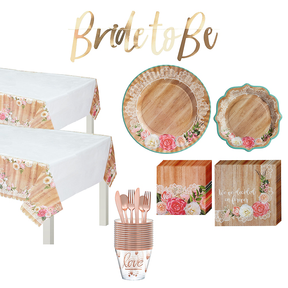 Floral & Lace Rustic Bridal Shower Tableware Kit for 50 guests Image #1