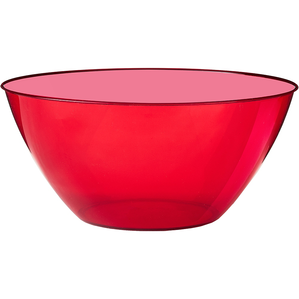 Large Red Plastic Bowl Image #1