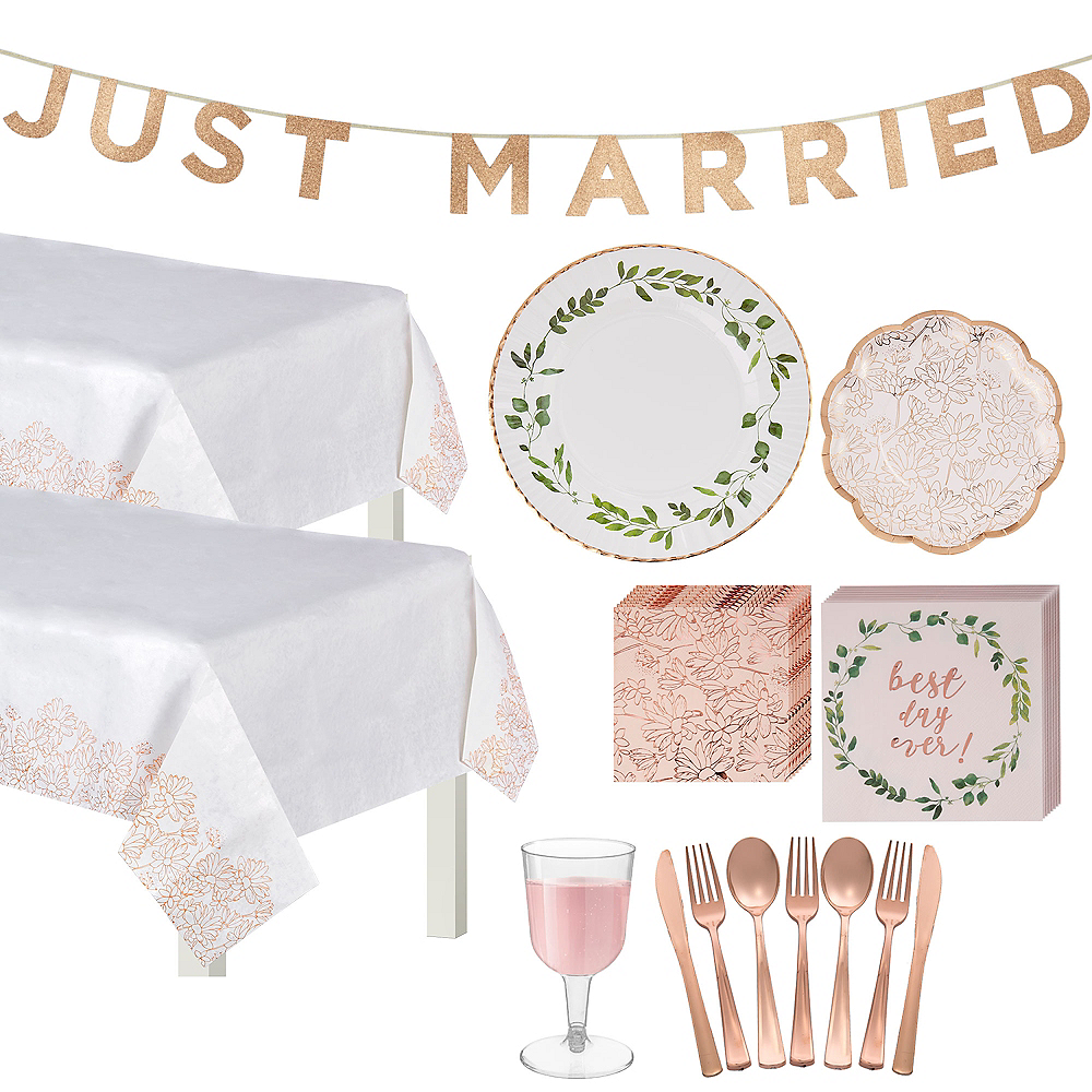 Rose Gold & Greenery Wedding Tableware K it for 50 guests Image #1