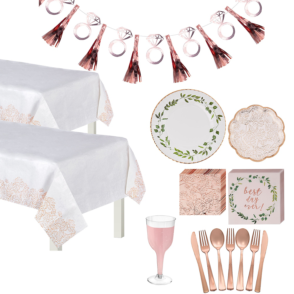 Metallic Rose Gold & Greenery Bridal Shower Tableware Kit for 50 guests Image #1