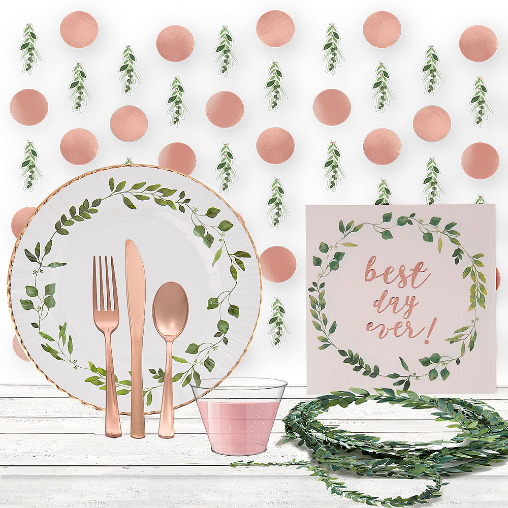Super Rose Gold & Greenery Wedding Tableware kit for 50 guests Image #1