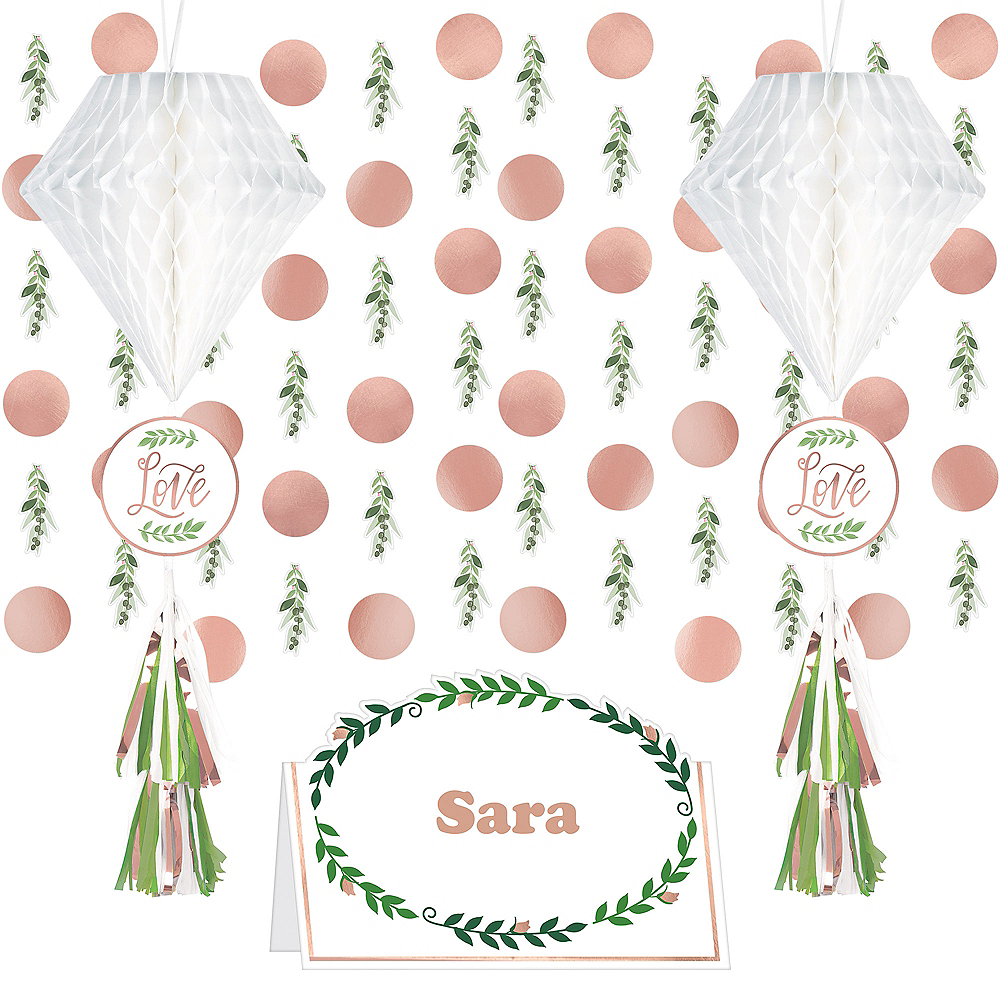 Rose Gold & Greenery Wedding Decorating Kit Image #1
