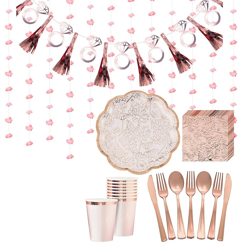 Rose Gold Floral Bridal Shower Tableware Kit for 50 Guests Image #1